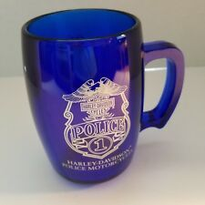 Harley-Davidson Police Motorcycles 1 Clear Blue Drinking Mug 16 oz.