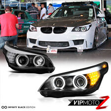 2004-2007 BMW 5-SERIES E60 E61 Black CCFL Angel Eye Projector Headlights LH+RH