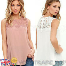 NEW Fashion Womens Summer Vest Top Sleeveless Lace Shirt Blouse Casual Tank Tops