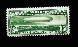 """US Airmail Sc C 13  65 c  """"Zeppelin"""" Mint NH  - Vivid Color - Centered - GEM"""
