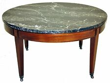 Regency Mahogany Round Coffee Table With Original Portoro Marble Top, c. 1940's
