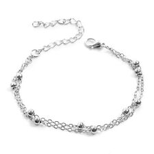2Pcs Woman Stainless Steel Bracelet Chain Beach Bead Anklets Gold/Silver Jewelry