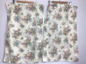 Vintage Floral Pillow Case Pair Cream Floral Housewife Cottagecore England
