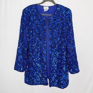 Stenay Woman 100% Silk Cardigan Jacket 1X Beaded Sequin Royal Blue Full Plus