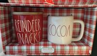 "New Rae Dunn Red ""REINDEER SNACKS"" Cellar Canister And White COCOA Xmas Mug Set"