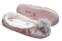 LADIES WARM FLEECE POM-POM VELVET COMFY SLIPPER PUMPS DOLLY INDOOR SHOES UK 3-8