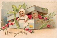 TO MY SWEETHEART~BOX OF BABIES~EMBOSSED GREETING POSTCARD 1910s