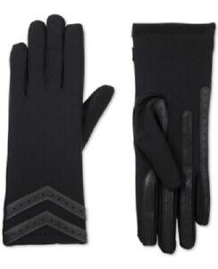 ISOTONER-Women's SmatDRI Chevron Stretch Touchscreen Gloves, Black, L/XL, NWTD