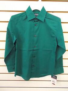 Boys Chaps $34 Green Button Down Wrinkle Resistant Dress Shirt Sizes 8 - 18/20