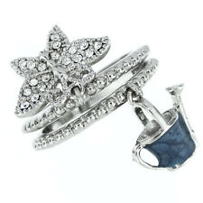 Ladies Bucket & Butterfly Crystal Stones White Gold Plated Two Pcs Ring Set Size