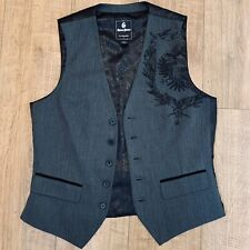 Guess Jeans Embroidered Waistcoat Suit Grey Black Herringbone Medium WORN ONCE
