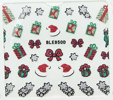 Christmas Glitter Silver Stars Red Bows Hats Reindeer Gifts 3D Nail Art Stickers