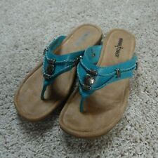 Minnetonka Turquoise Leather Sandals Silverthorne Southwestern Flip Flop Thong 7