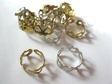 12 LOT Ladies Silver & Goldtone Adjustable Heart Band Rings So Cute!!