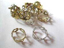 12 LOT Ladies Silver & Goldtone Adjustable Heart Band Rings So Cute!!