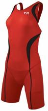 New Women's TYR CARBON Red Black White Aeroback Shortjohn - USA Made - Medium