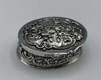 Antique Hallmarked Solid 835 Silver Floral Pill Box W/ Gilt Interior 19.8g