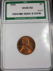 1939 1C Lincoln Wheat Penny ANI BU Red
