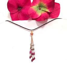 beautiful solid 18K Gold Alexandrite Diamond Sapphire Ruby Tassel Necklace