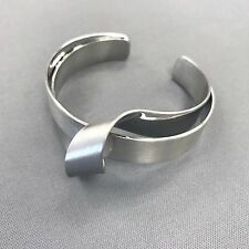 Simple Silver Finished Twisted Design Metallic Surfaced Cuff Bangle Bracelet