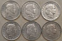 Switzerland 1919,24,25,26,29,+39 Twenty Rappen  Better Circ. Grades as Pictured