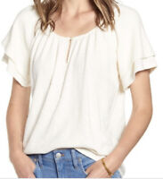 New Madewell Texture & And Thread L Tiered Sleeve Top Shirt Cotton Ivory NWT