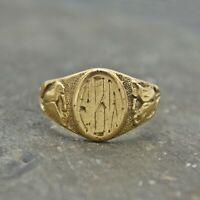 10k Yellow Gold Vintage Flower Motif Initial Ring Size 4