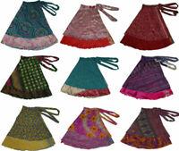 Vintage Silk Sari Recycled Magic Wrap Around Skirt Reversible Women Dress Lot