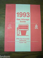 MINT 1993 GAS MILEAGE GUIDE EPA FUEL ECONOMY ESTIMATES NEW