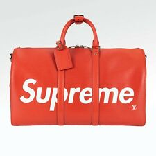 100% Authentic New Supreme x Louis Vuitton Keepall Bandouliere 45 Red m53419