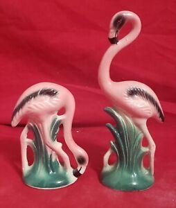 "Vintage Pink Flamingo Figurines Porcelain Ceramic 3"" and 4 1/2"" Tall"