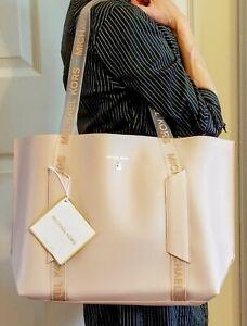 Michael Kors Large Beige Tote Bag Translucent Handles Work Shopping Travel BNWT