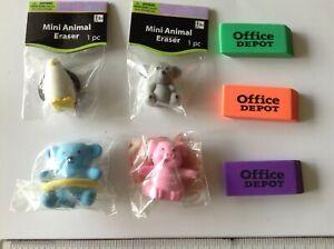 New 7 Cute Mini-Erasers Animal Pencil Topper Pig Bear Pink Blue Regular Erasers