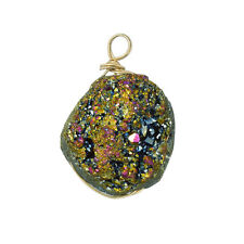 Druzy Wire Wrap HOMOLOGUE Electroplated PEACOCK (16x20mm) Pack of 1 (d62/6)