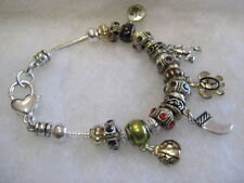 Vintage Unmarked Silvertone Charm Bracelet With 25 Charms/Spacers