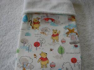 Pooh's House White Cotton Front White Fleece Reversible Baby Blanket Handmade