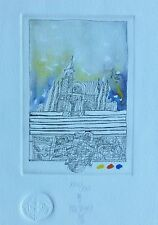 """MATKO TREBOTIC """"cathedral"""" HAND SIGNED 1987 Unique ! ETCHING WATERCOLOR Croatian"""