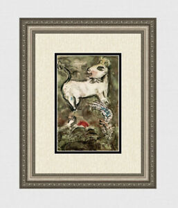 CHAGALL 1962 Hadassah Hebrew University Color Lithograph WHITE DONKEY Framed COA