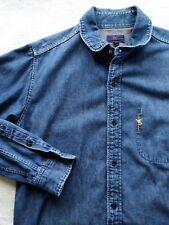45RPM forty five RPM by R hidden pocket indigo blue denim shirt size 1