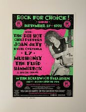 Rock For Choice! Red Hot Chilli Peppers Joan Jett Original 1992 Poster Signed