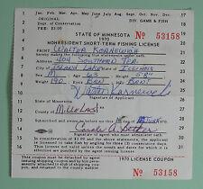 1970 Minnesota Non Resident Short Term Fishing License...Free Shipping!