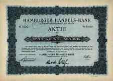 Hamburger Handels Bank KGaA 1921 Hamburg Stade Berlin von Richthofen 1000 Mark