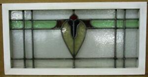 """OLD ENGLISH LEADED STAINED GLASS WINDOW TRANSOM Floral  & Heart 27.75"""" x 14"""""""