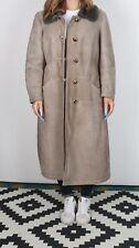 Sheepskin Suede Leather Jacket Coat Long Vintage UK L 14  (J1W)