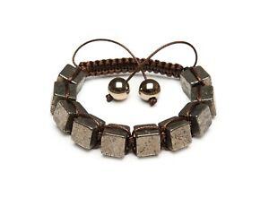 Shamballa Bracelet Unique Pyrite Cube Gemstone Beaded Men's LEO Hand Made UK