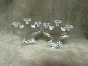 1970's Mid Century Design Small Size Triple Candlesticks Made Denmark Glass