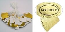 """100 Cardstock JEWELRY Price TAGS 1""""x 1/2""""  w/ String +100 """"14KT Gold"""" Labels 14k"""