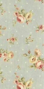 "22"" Remnant Cottage Shabby Chic Lecien Durham Quilt Rose Floral 31927 Dusty Blue"