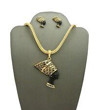 New Black Face Nefertiti Earrings & Necklace Set