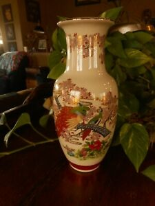 "Made in Japan Vase Peacock Birds Sticker 10.5"" Tall"